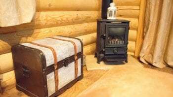 Wood burning stove in a shed